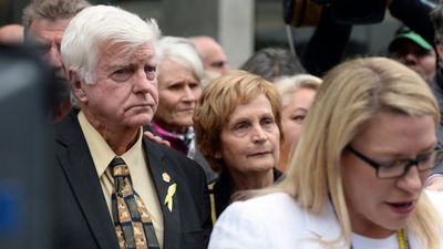 <p>July 15, 2014: Gerard Baden-Clay is found guilty of murdering Allison. </p> <p>Here, Allison's parents Geoff and Priscilla Dickie stand behind her best friend, Kerry-Anne Walker, as she reads a statement.</p>