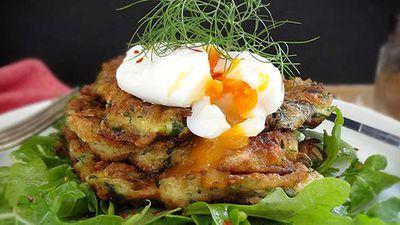 """Recipe:&nbsp;<a href=""""http://kitchen.nine.com.au/2016/06/06/12/28/zucchini-and-feta-fritters"""" target=""""_top"""">Zucchini and feta fritters</a>"""