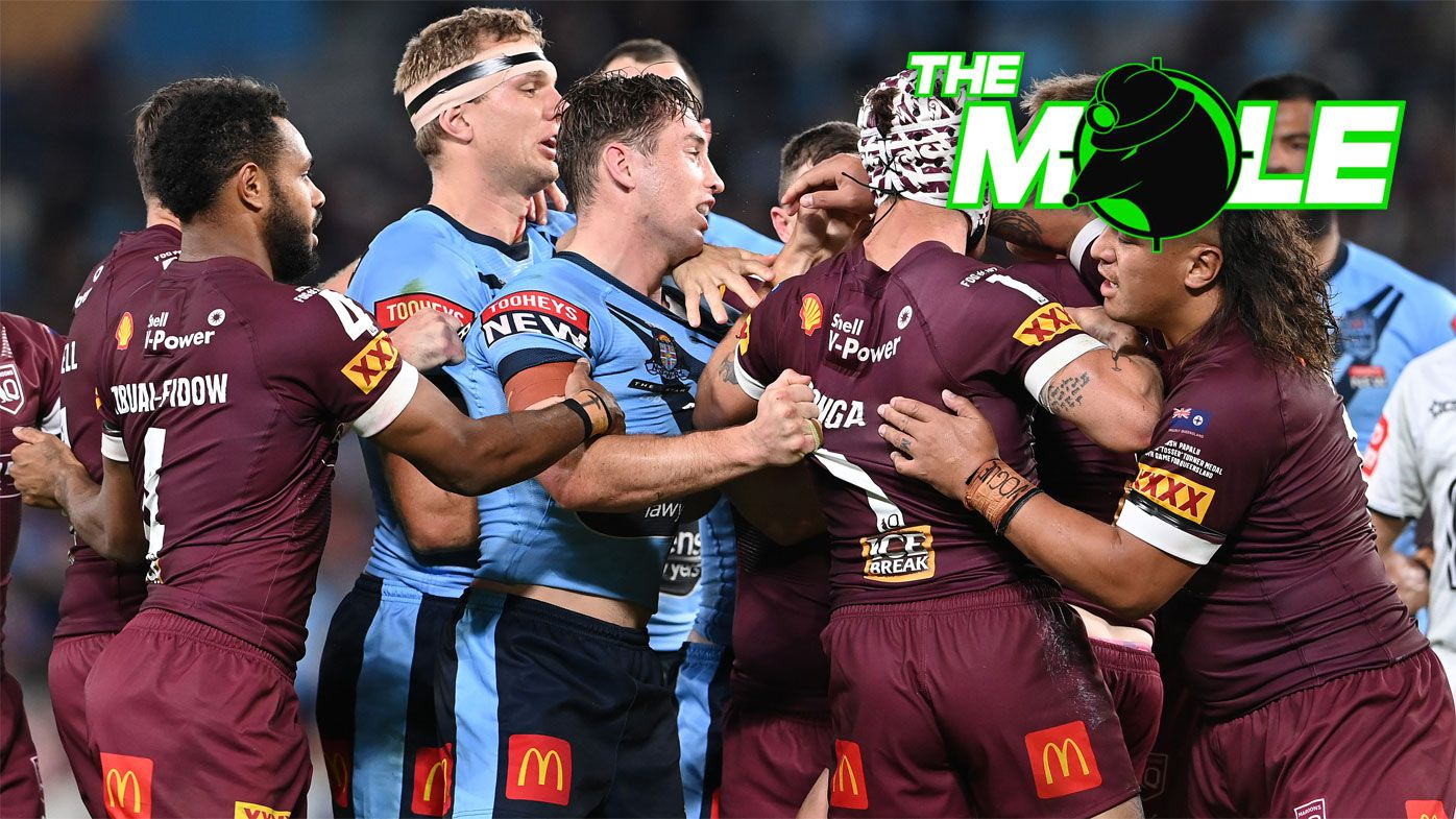 NSW and Queensland players come together in a fiery Origin III.