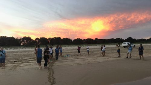 An idyllic sunset was the backdrop for last night's release at Boambee beach. (Supplied)