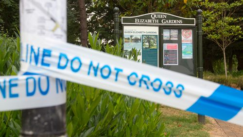 Queen Elizabeth Gardens is off limits to the public because the pair visited the area on Friday night. Picture: AAP