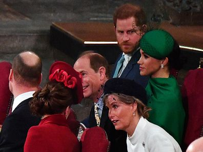 Harry and Meghan attend the Commonwealth Day service in 2020.