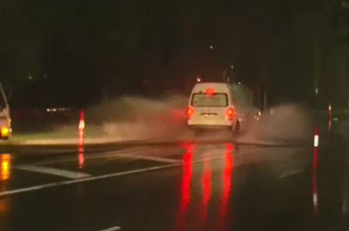 More than 35mm of rain fell in the city overnight. (9NEWS)
