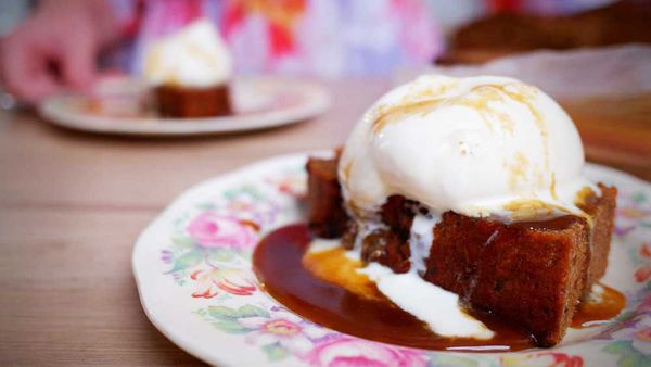 Classic sticky date pudding with hot butterscotch sauce