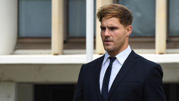 Jack de Belin leaves Wollongong court today.