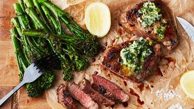 Rump steak with herb and garlic butter