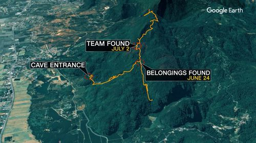 The group have spent nine days underground. Food is being sent in, and it will take hours to rescue them.  (CNN)
