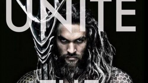 The promo shot features Momoa with Aquaman's trademark trident. (Twitter)