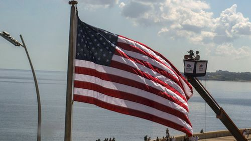 The US flag was raised over the newly re-opened the Embassy in Havana in August 2015. (AAP)
