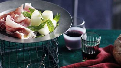 """Mellow out of the heat with our classic (and cutely retro) crisp <a href=""""http://kitchen.nine.com.au/2016/05/17/11/08/melon-and-ham"""" target=""""_top"""">melon and ham salad </a>recipe"""