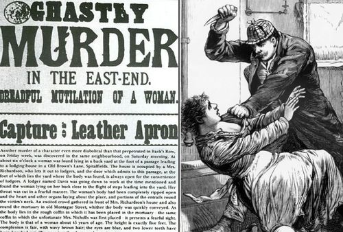 A front page of a London newspaper in 1888 and, right, an artist impression of Jack The Ripper's killings.