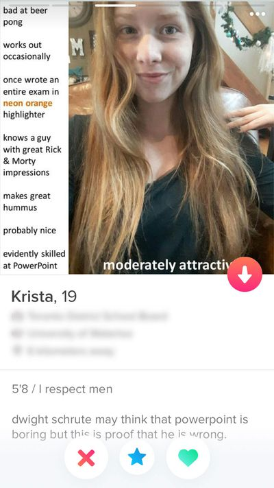 Woman makes PowerPoint presentation for Tinder profile