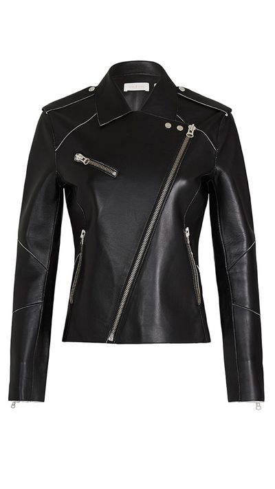 "<p><a href=""https://www.sassandbide.com/au/products/watch-will-black-white"" target=""_blank"">Watch & Will Bonded Leather Jacket, $1400, Sass & Bide</a></p>"