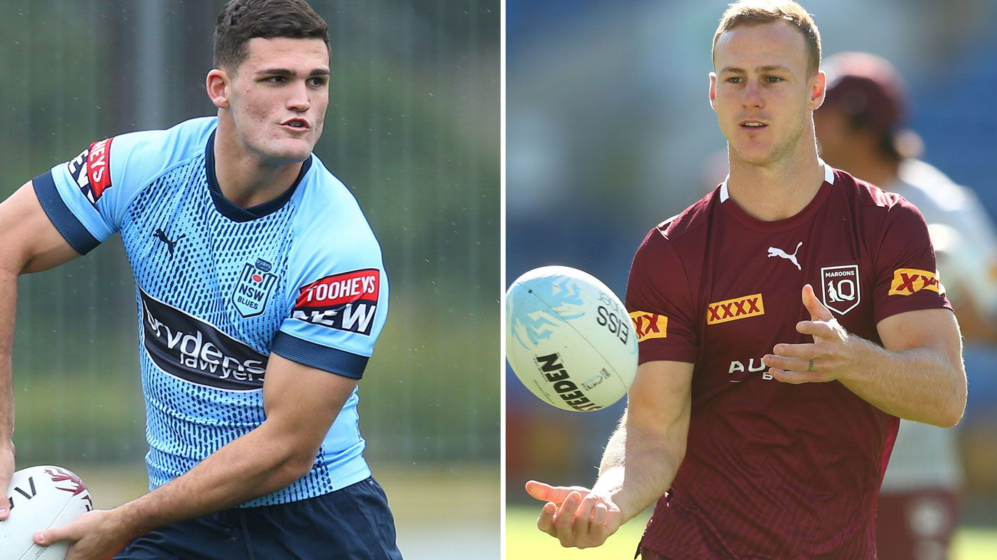 NSW and Queensland halfbacks Nathan Cleary and Daly Cherry Evans.