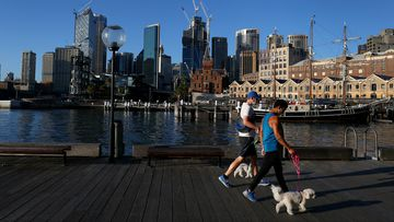 People exercising at sunrise  in Sydney.