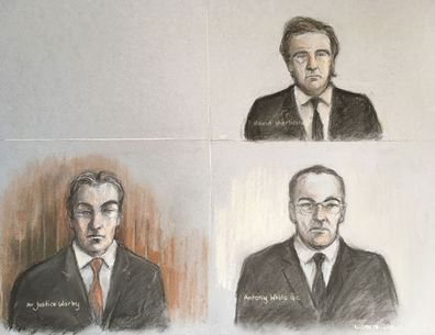 "Court artist sketch by Elizabeth Cook of Mr Justice Warby (bottom left) Antony White QC, for Associated Newspapers (bottom right) and David Sherborne the lawyer representing the Duchess of Sussex, during a virtual High Court hearing in the first stage of Meghan's legal action against a British newspaper over its publication of a ""private and confidential"" letter to her estranged father.. Picture date: Friday April 24, 2020."