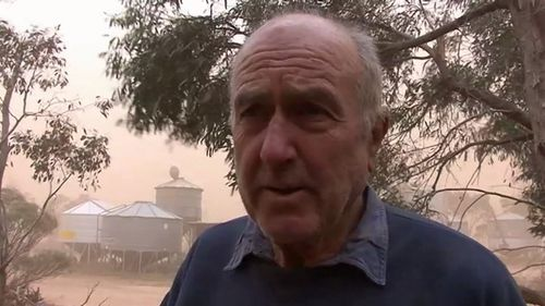 """Farmer Peter Rehn said, """"this is probably the worst day I have seen in at least 40 years."""" Picture: 9NEWS"""