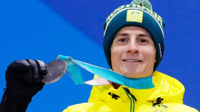 Silver medalist Matt Graham of Australia during the medal ceremony for the men's Freestyle Moguls event. (AAP)