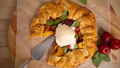 Easy peach, apricot, plum basil and balsamic summer galette