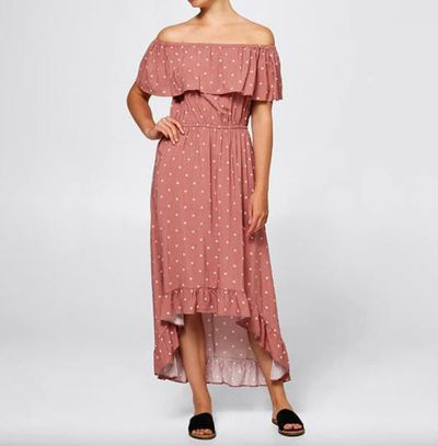 "<a href=""https://www.target.com.au/p/off-shoulder-maxi-dress/W1120907"" target=""_blank"">Off Shoulder Maxi Dress - Brick Dust Ditsy</a>, $25"