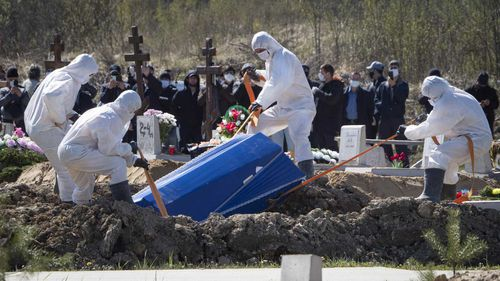 Bodies of coronavirus casualties are buried outside of St Petersburg, Russia.