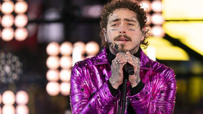 Post Malone performing at the Times Square New Year's Eve celebration in New York (December 31, 2019)