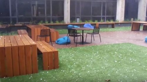Large hail in Newcastle yesterday.