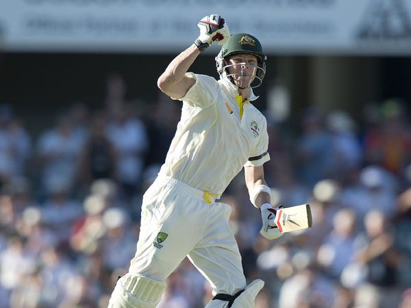 Steve Smith celebrates his ton at the WACA against England during the 2013 Ashes series. (AAP)