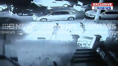 At one stage, a man can be seen attacking the victim with a baseball bat. (9NEWS)