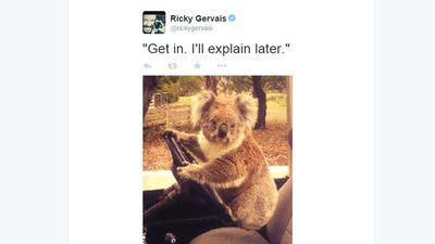 He'll drive if you can work the pedals. (Twitter, @rickygervais)