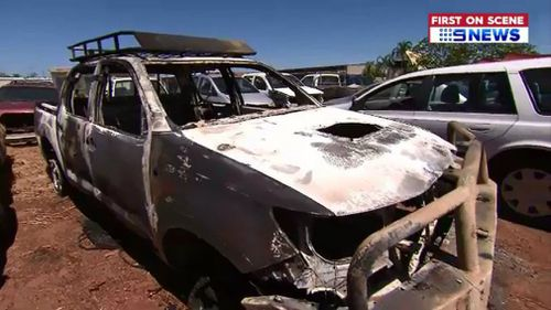 The ute was torched, presumably to destroy evidence. (9NEWS)