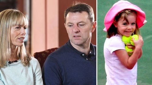 Parents Kate and Gerry McCann, pictured next to a photo of Madeleine taken on the tragic holiday in Portugal. Source: AFP