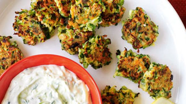 Zucchini fritters with feta & mint
