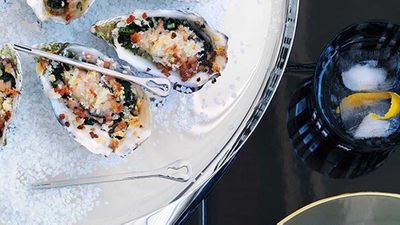 "Recipe:&nbsp;<a href=""http://kitchen.nine.com.au/2016/05/16/19/35/oysters-rockefeller"" target=""_top"">Oysters Rockefeller<br /> </a>"
