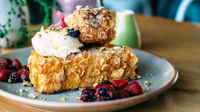 "Recipe: <a href=""http://kitchen.nine.com.au/2017/06/09/14/16/wild-sage-cornflake-crumbed-french-toast"" target=""_top"">Wild Sage's Cornflake crumbed French toast with berries and mascarpone</a>"