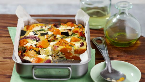 Roasted pumpkin, spinach and feta slice