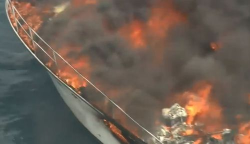 The boat went up in flames very quickly.