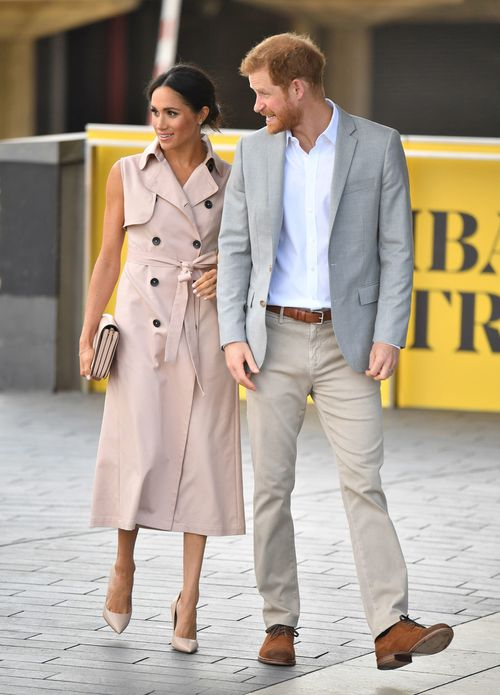 Meghan wore a blush pink trench dress by Canadian fashion label Nonie. Image: PA