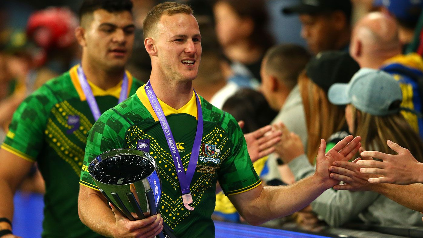 Daly Cherry-Evans of Australia celebrates with fans after winning the Rugby League World Cup 9s Final