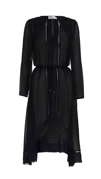 "<a href=""http://www.zimmermannwear.com/readytowear/seer-tuck-swing-dress-black.html"" target=""_blank"">Dress, $455, Zimmermann</a>"