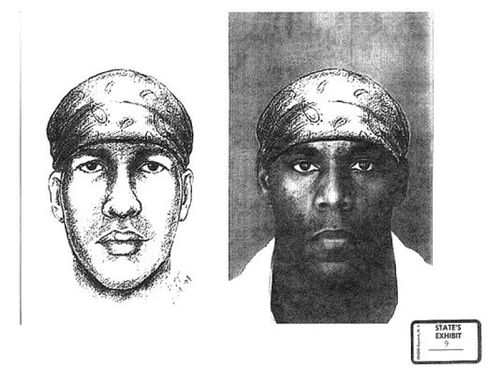 An artist impression of Alvin Braziel was compared to his photo during the 2001 murder trial.