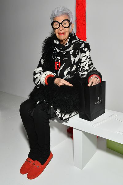 Iris Apfel front row at Calvin Klein, New York Fashion Week, September 2017.