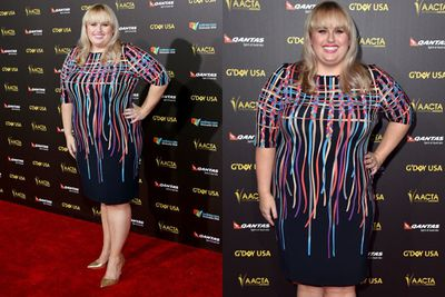 Although Rebel Wilson looks like she rolled around in the confetti aisle in a party shop here, we still love her.