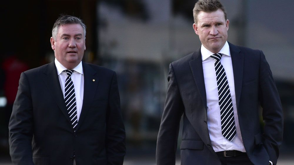 Collingwood president Eddie McGuire and Magpies coach Nathan Buckley. (AAP)