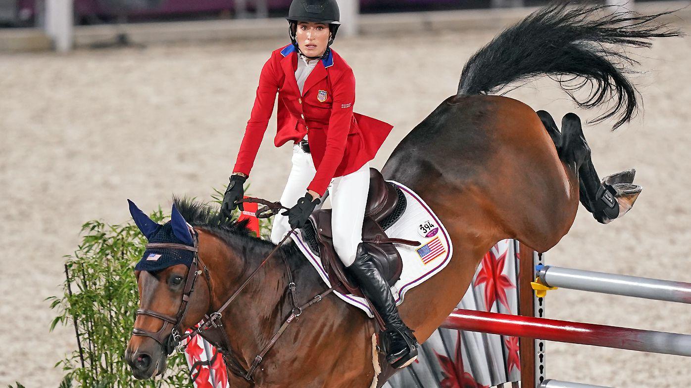 Jessica Springsteen of the USA aboard Don Juan Van De Donkhoeve during the Jumping Team Final