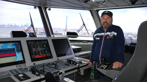 "Adam Meyerson, captain of the Sea Shepherd's new high-speed patrol vessel ""Ocean Warrior,"" aboard the vessel in Melbourne. (Image: AP/Kyodo)"