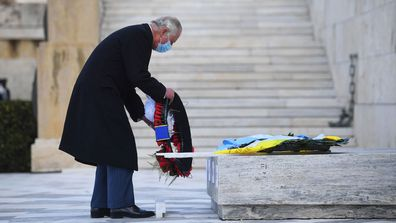 Prince Charles, Prince of Wales lays a wreath laying at the Memorial of the Unknown Soldier in Syntagma Square during their two-day visit to Greece to celebrate the bicentenary of Greek independence on March 25, 2021in Athens, Greece