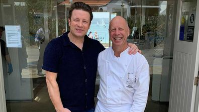 Jamie Oliver with head chef Serge Dansereau