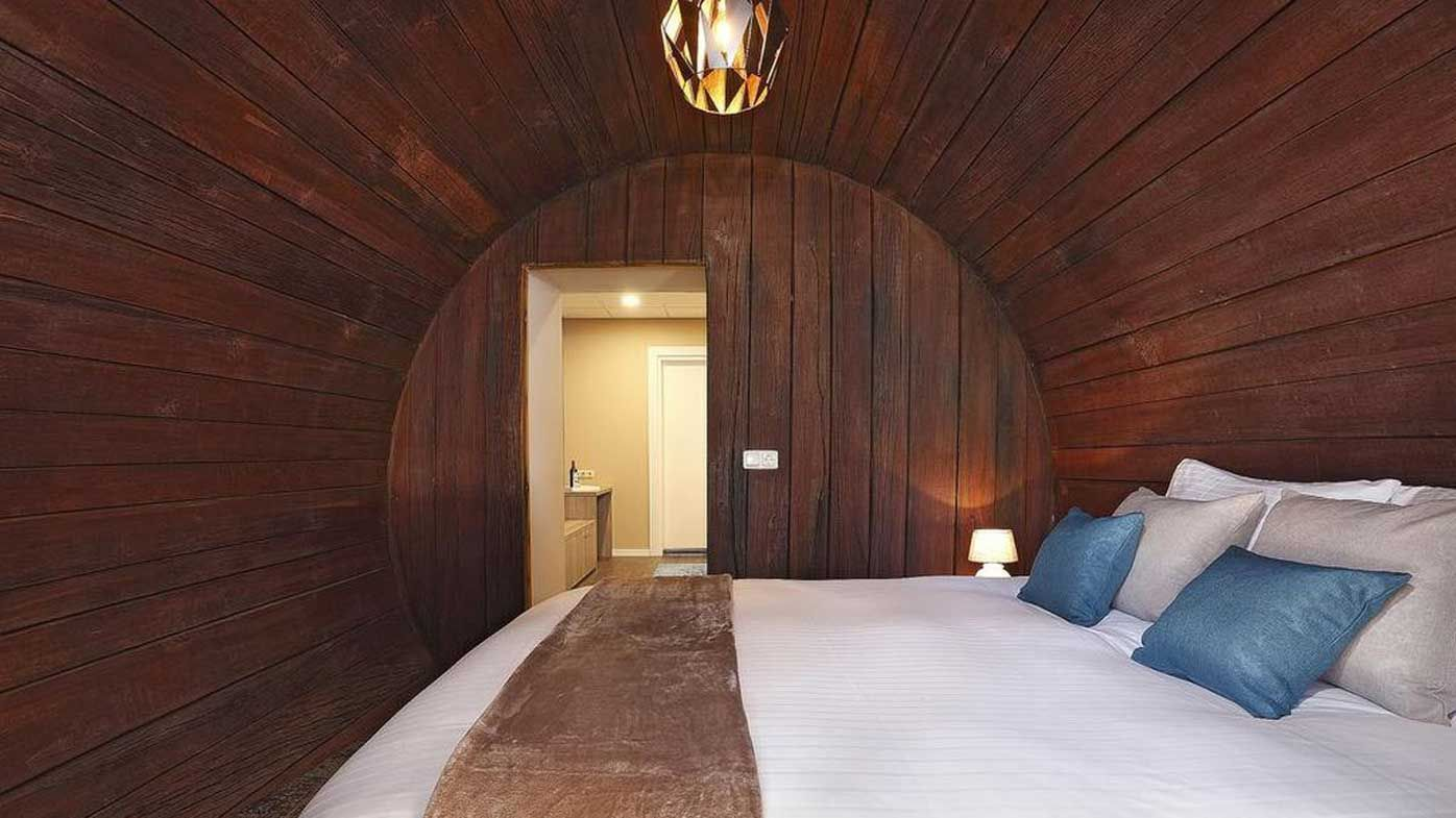 Hotel made from upcycled wine cask
