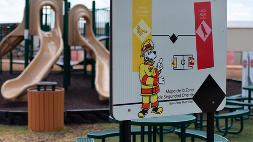FILE - This Aug. 9, 2018, file photo provided by U.S. Immigration and Customs Enforcement shows a playground area at the South Texas Family Residential Center in Dilley, Texas.
